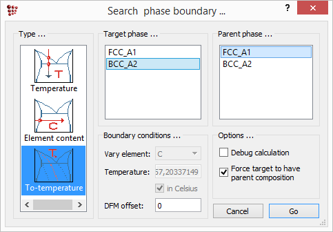 MatCalc search phase boundary