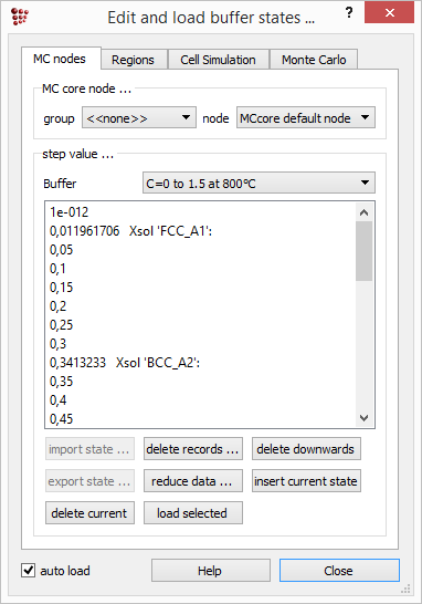 MatCalc edit and load the buffer states